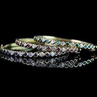 Group of 3 Ruby, Sapphire, Emerald & Diamond set bangles, bangle 1