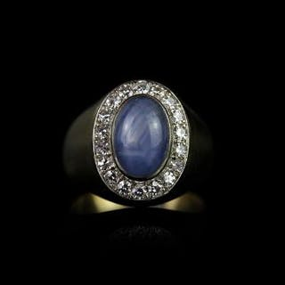 Star sapphire and diamond signet ring, cabochon blue star sapphire