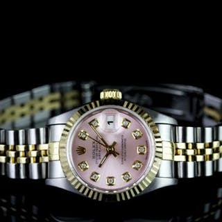 LADIES TWO TONE ROLEX DATEJUST,WITH DIAMOND DOT DIAL,round,pink dial