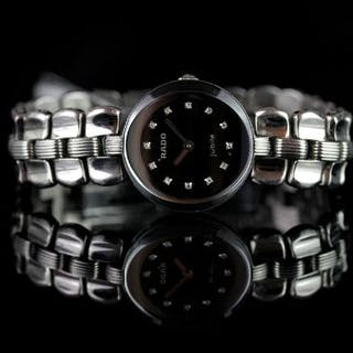 LADIES RADO JUBILE DIAMOND SET WRISTWATCH, circular black dial with