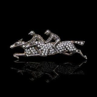 Double horse jockey brooch, diamond set, in yellow and white silver