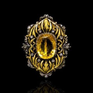Antique citrine and diamond decorative brooch, mounted in yellow and