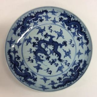 A blue and white Chinese circular shallow dish dec