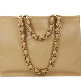 e4c18b198d1 Chanel Beige Quilted Caviar Leather Vintage Jumbo XL.