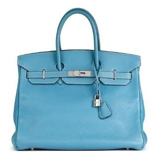 f4e5b9601b2 Hermès Blue Jean Fjord Leather Birkin 35cm Serial Number.