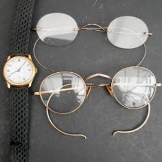 8b734d1bb5b1 Vintage 18ct Gold Wrist Watch Swiss Made Plus 2 x Wire rimmed Spectacles  (approx