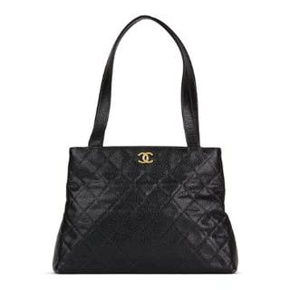 58e8d51ab247ff Chanel Black Quilted Caviar Leather Classic Shoulder Bag.