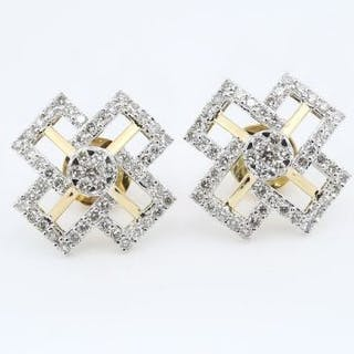 IGI Certified 18 K / 750 Yellow Gold Diamond Earrings  18...