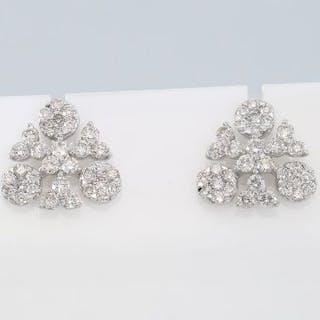 IGI Certified 18 K / 750 White Gold Diamond Earrings  18...