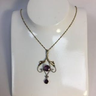 Art Deco Amethyst Seed Pearl Pendant and Chain   An Art...