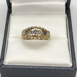 Victorian 9ct Sapphire and Diamond Ring  This Victorian...