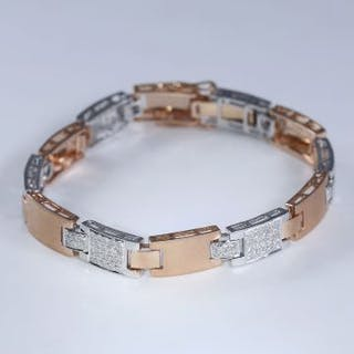 18 K / 750 White Gold and Rose Gold Men's Diamond...