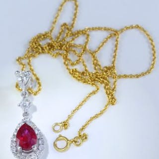 14 K / 585 White Gold Designer Ruby (GIA Certified)...