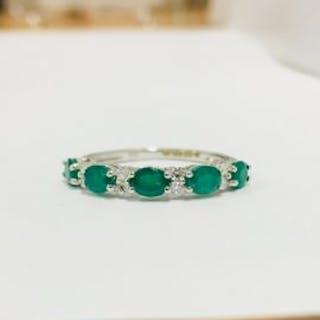 9ct white gold emerald diamond eternity style ring,9CT...
