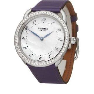 2010 Hermès Arceau Mother of Pearl Diamond Stainless...