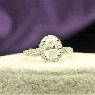 Unworn As New 18ct White Gold Single Stone With Halo Setting Ring 1.95 Carats