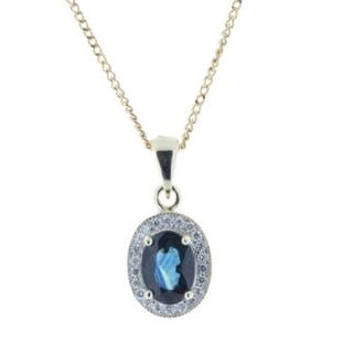 Unworn As New 9ct Yellow Gold Diamond And Sapphire Pendant 0.11 Carats