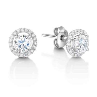Unworn As New 18ct White Gold Single Stone With Halo Setting Earring 0.62 Carats