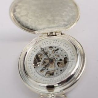 Skeleton movement railway style pocket watch in working order