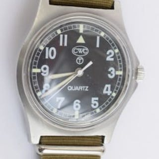Quartz military watch with military markings