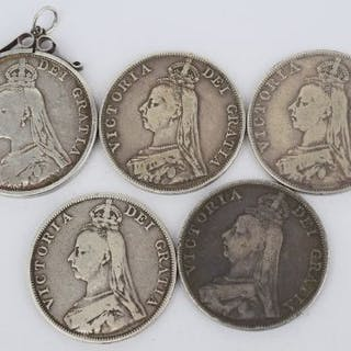 Collection of five Victorian silver crowns