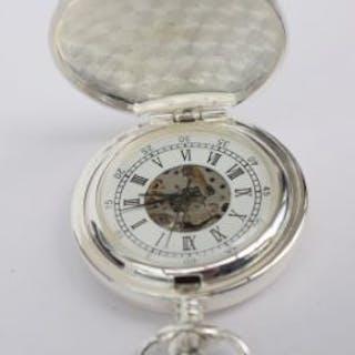Pocket watch with railway train theme