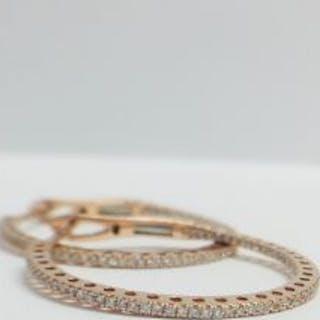 18CT Rose gold Diamond Hoop Earrings modern style,G colour