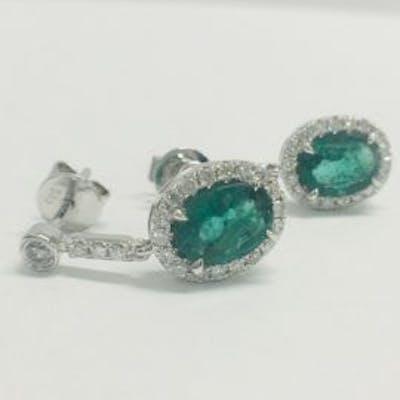 1 pair 14ct white gold emerald & diamond earrings