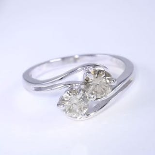 IGI Certified 14 K White Gold 2 Solitaire Diamond Ring