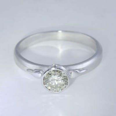 14 K White Gold Certified Solitaire Diamond Ring 14 K /...