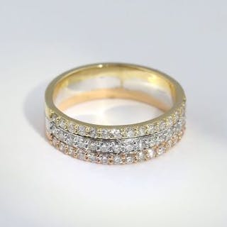 IGI Certified 3 Row Designer Diamond Ring