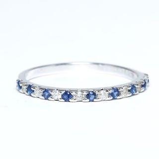 14 K / 585 Diamond and Blue Sapphire Ring 14 K White...