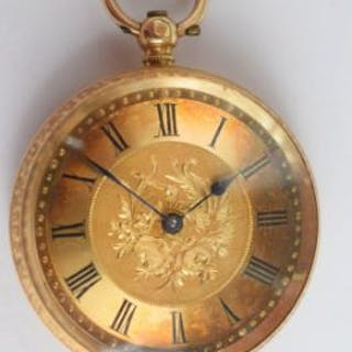 Lovely 18ct gold pocket watch with original Swansea Jeweller's box and key