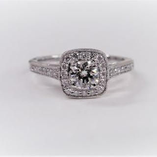 18Ct Diamond Halo Solitaire Ring 050ct H colour si...
