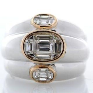 18ct White Gold Fancy Diamond Eternity Ring 0.93 Unworn As New Carats
