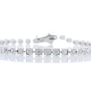18ct White Gold Tennis Diamond Bracelet 1.50 Unworn As New Carats