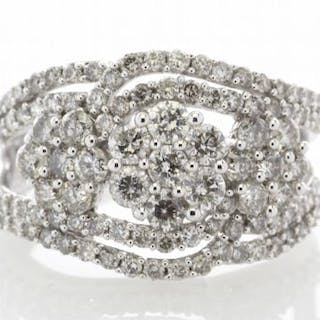 14ct Gold Flower Cluster Diamond Ring 2.00ct Unworn As New Carats