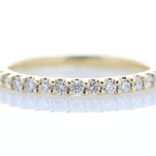 18ct Yellow Gold Claw Set Semi Eternity Diamond Ring 0.29 Unworn As New Carats