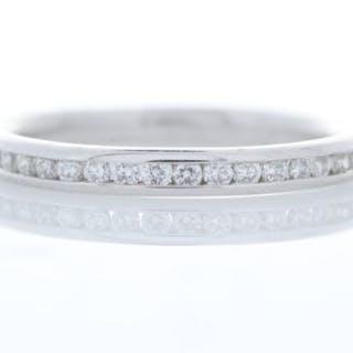 18ct White Gold Channel Set Semi Eternity Diamond Ring 0.24 Unworn As New Carats