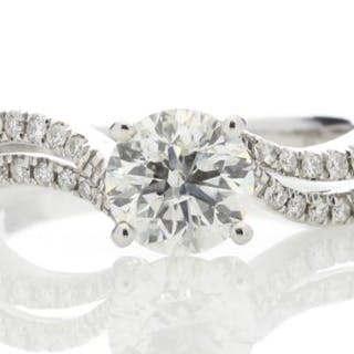 18ct White Gold Solitaire Diamond Ring With Two Rows...