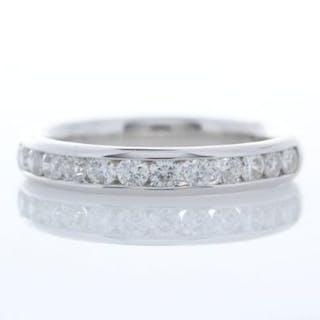 18ct White Gold Channel Set Semi Eternity Diamond Ring 0.47 Unworn As New Carats