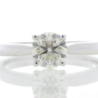 18ct White Gold Solitaire Diamond Ring 0.90 Unworn As New Carats