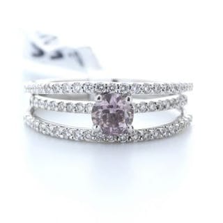 18ct White Gold Claw Set With Fancy Natrual Pink Centre...