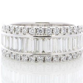18ct White Gold Channel Set Semi Eternity Diamond Ring 2.12 Unworn As New Carats