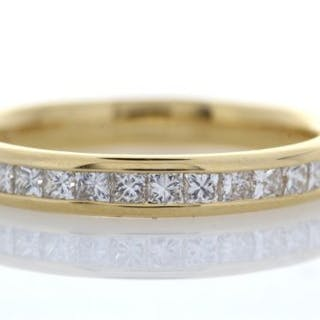 18ct Yellow Gold Channel Set Semi Eternity Diamond Ring...