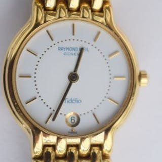 Ladies Raymond Weil Geneve Fidelio  Gold plated Raymond Weil with date at 6