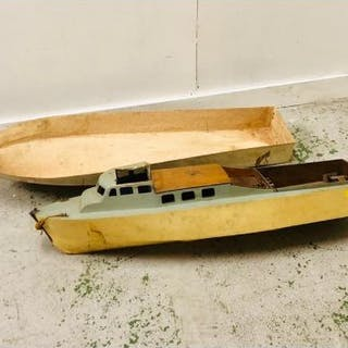 A Pond Yacht (110cm) RAF Patrol Boat In need of completion and a fibre