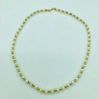 A pearl and 18ct gold necklace