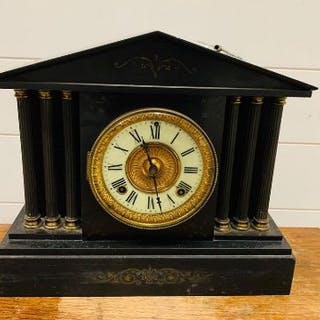 Ansonia iron metal clock made in New York slate with detailed column sides