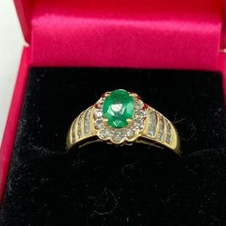 A 14ct yellow gold emerald and diamond cluster ring 2cts total approx.